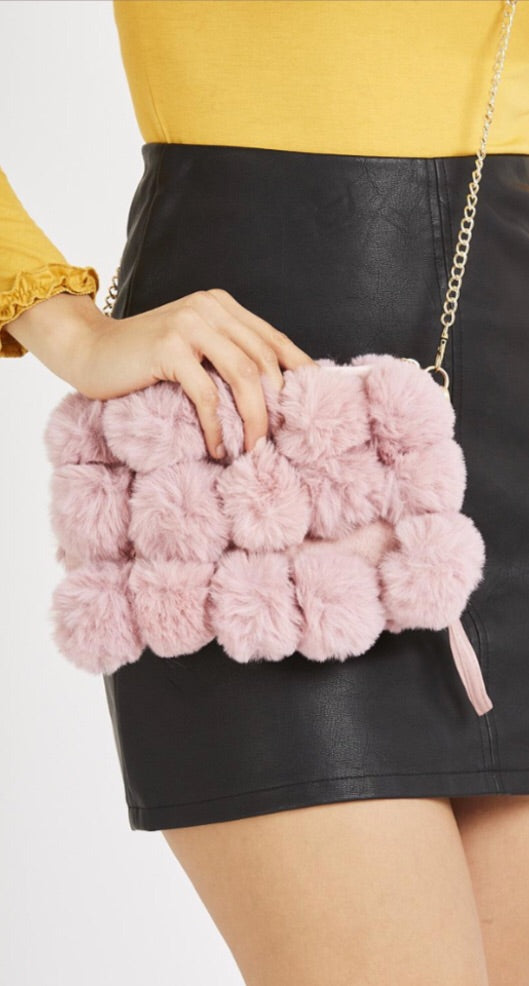 Pom Pom Faux Fur Detail Bag - Pink