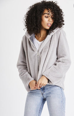 Teddy Bear Zip Hooded Jacket - Light Grey