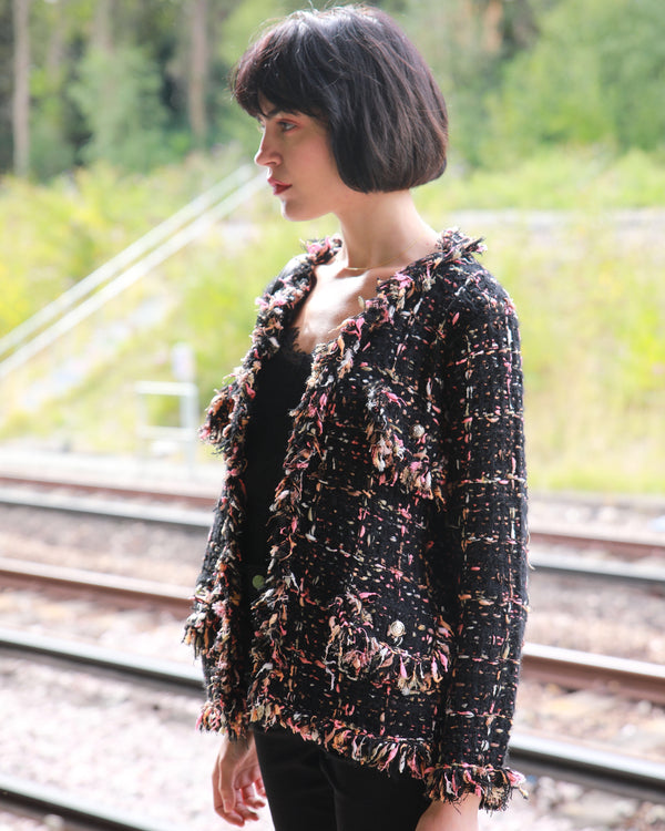 Tweed Effect Knitted Cardigan Jacket - Black Pink