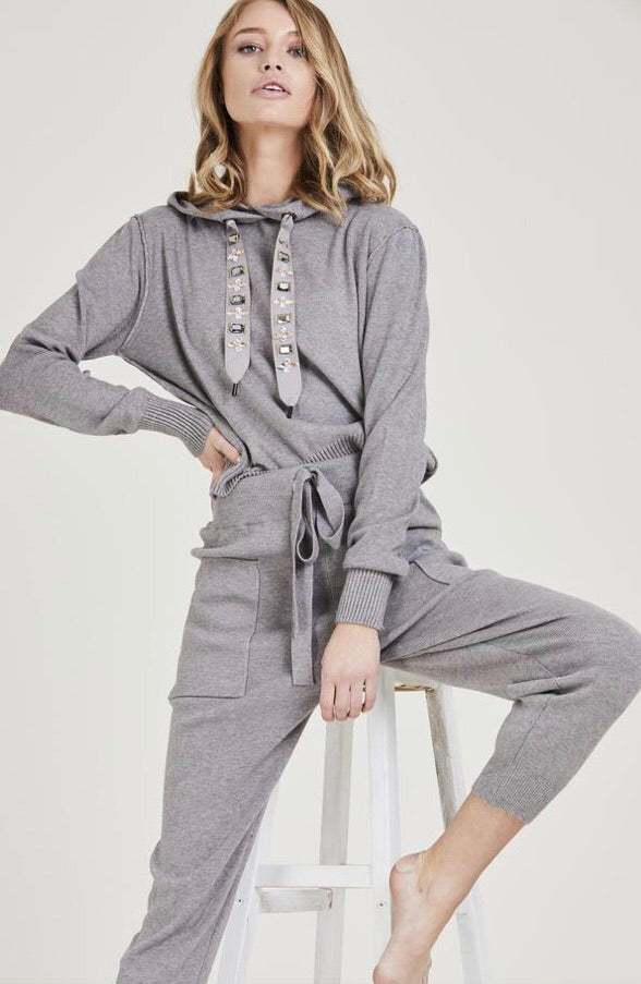 Jewel Embellished Soft Knit Tracksuit - Grey