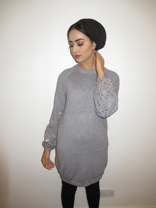 MS x SI Sequin Sleeve Jumper Dress - Grey