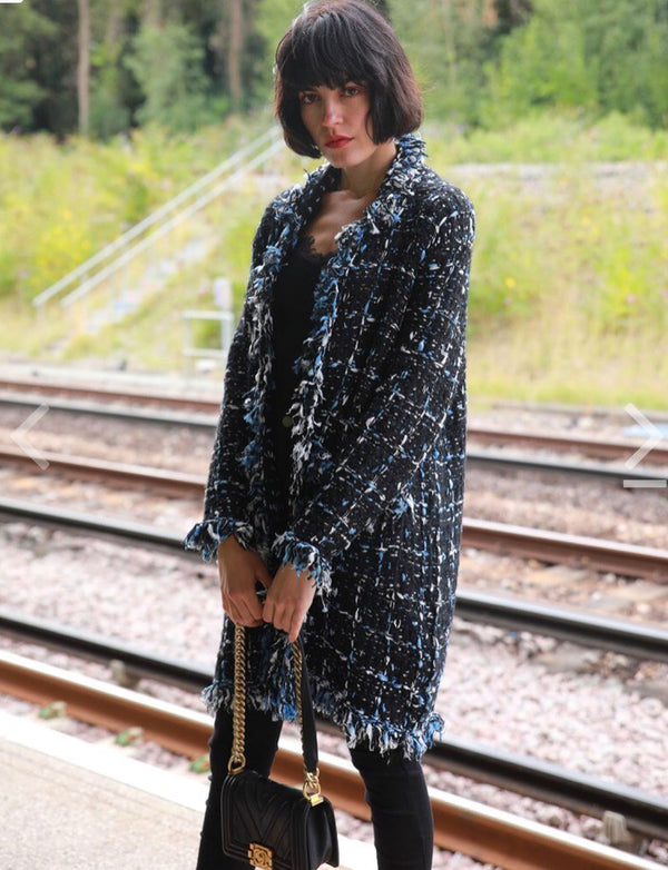 Tweed Effect Knitted Long Cardigan  - Black Blue