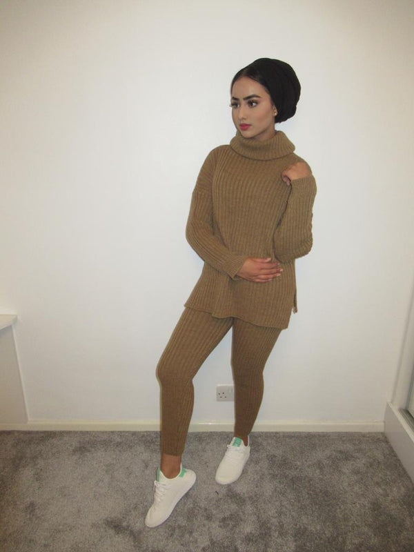 MS x SI Cosy Roll Neck Ribbed Two Piece Loungeset - Tan