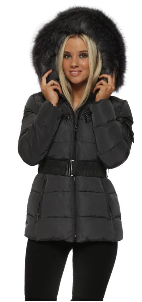 Attentif Paris Raccoon Fur Coat- Dark Grey (Dark Grey Fur)
