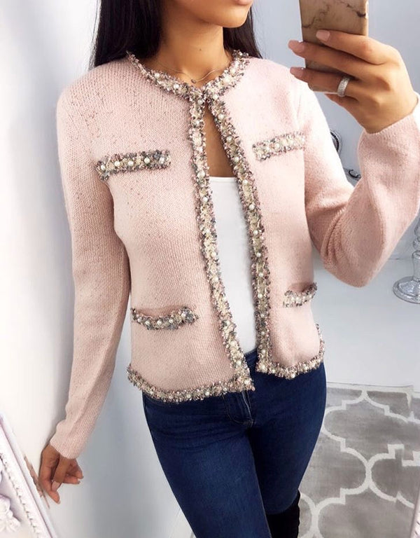 Coco Tweed Knitted Cardigan Jacket - Pink