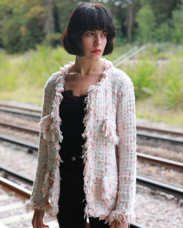 Tweed Effect Knitted Cardigan Jacket - White Pink