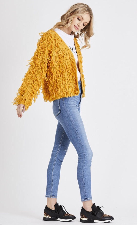 Shaggy Cardigan Jacket - Mustard