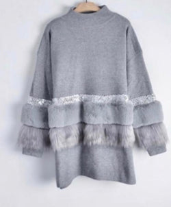 Aztec Diamonte and Fur Front Jumper Dress - Grey