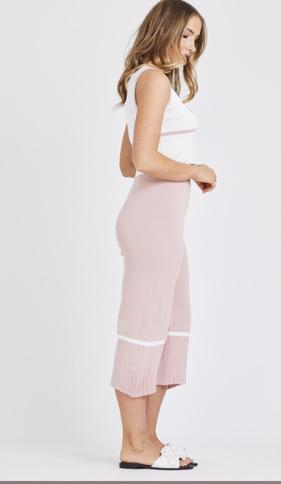 Light Knit Stripe 2 Piece Set- Pink