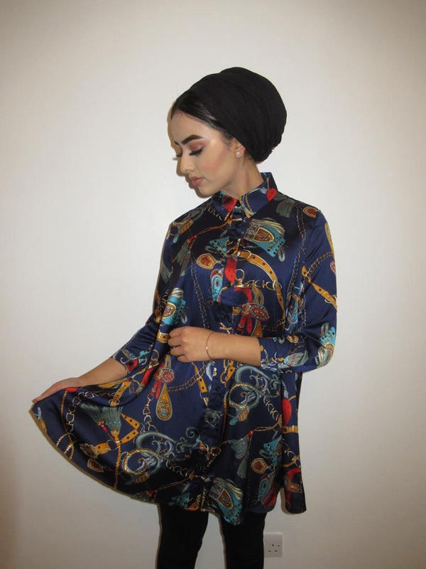 MS x SI Printed Shirt Dress - Navy
