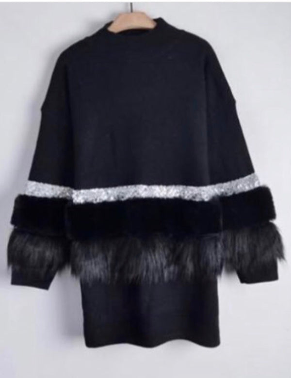 Aztec Diamonte and Fur Front Jumper Dress - Black