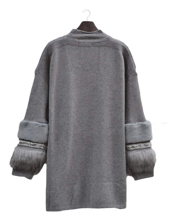 Aztec Diamonte and Fur Sleeve Jumper Dress - Grey