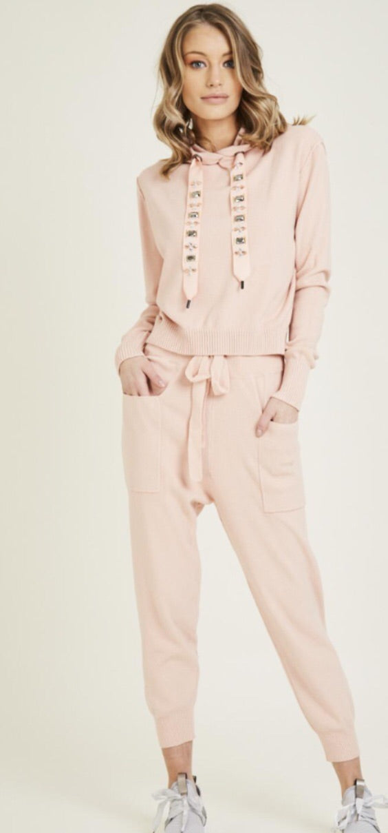 Jewel Embellished Soft Knit Tracksuit - Pink