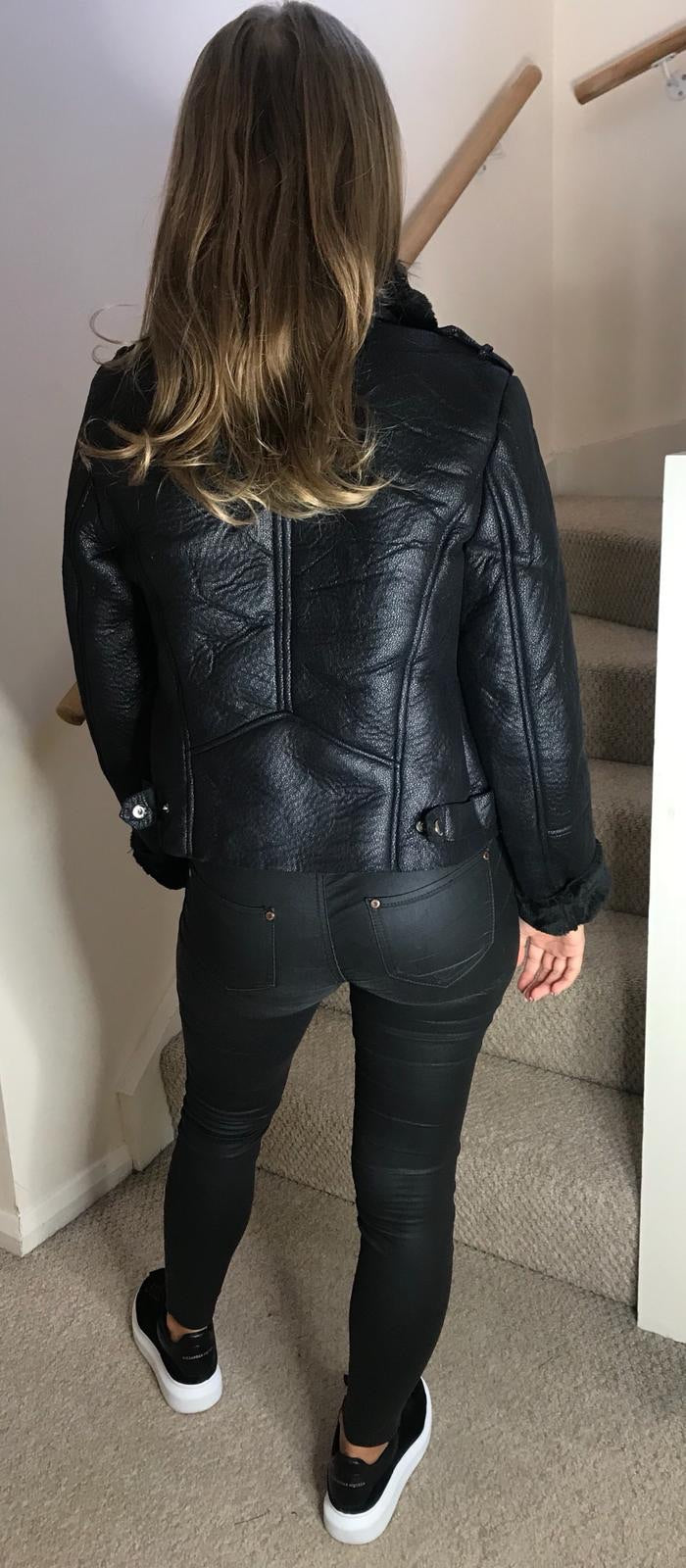 Aviator Fur and Leather Jacket - Black