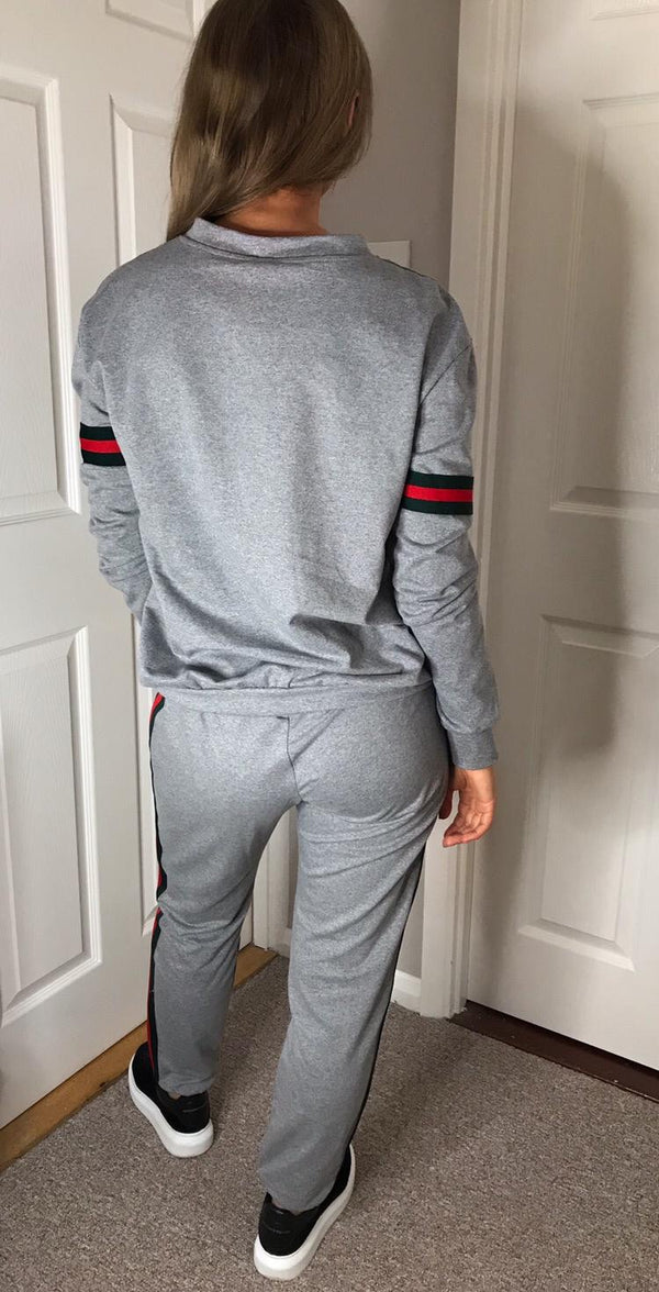 Gucci Inspired Stripe Tracksuit - Grey