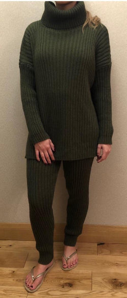 MS x SI Cosy Roll Neck Ribbed Two Piece Loungeset - Khaki