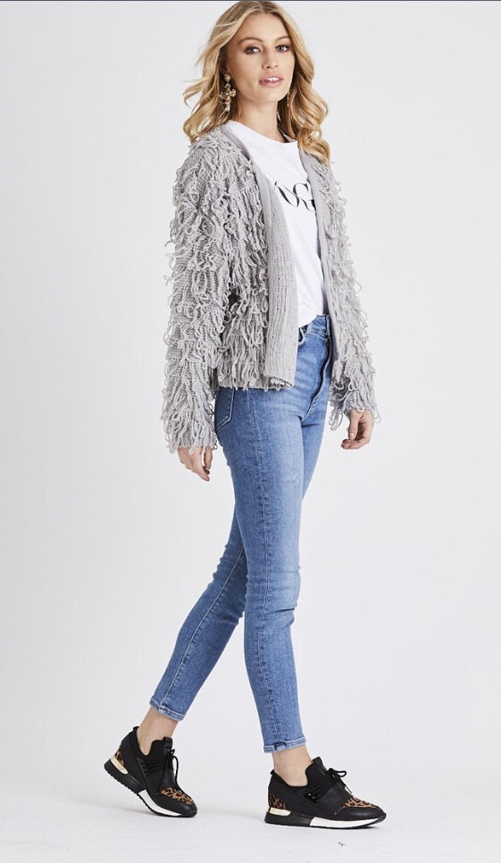 Shaggy Cardigan Jacket - Grey