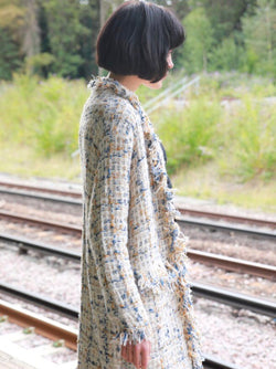 Tweed Effect Knitted Long Cardigan  - White Blue