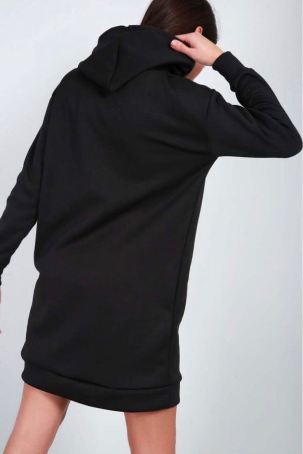 Oversized Pocket Hoody Dress - Black