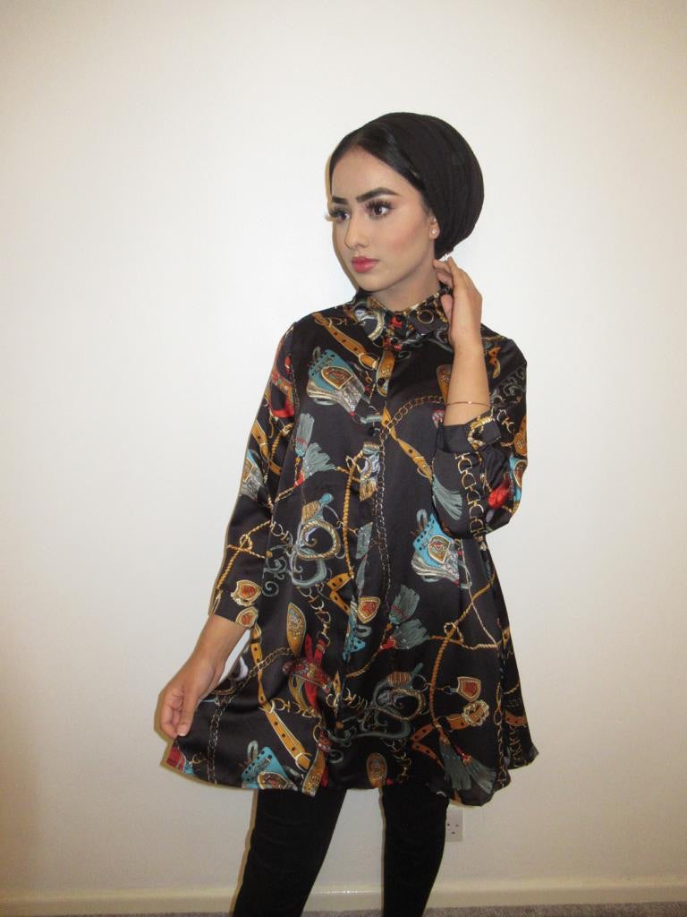 MS x SI Printed Shirt Dress - Black