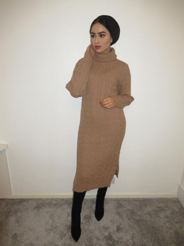 MS x SI Roll Neck Ribbed Maxi Jumper Dress - Tan