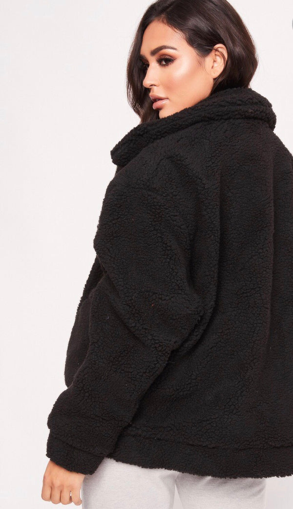 Teddy Bear Oversized Jacket - Black