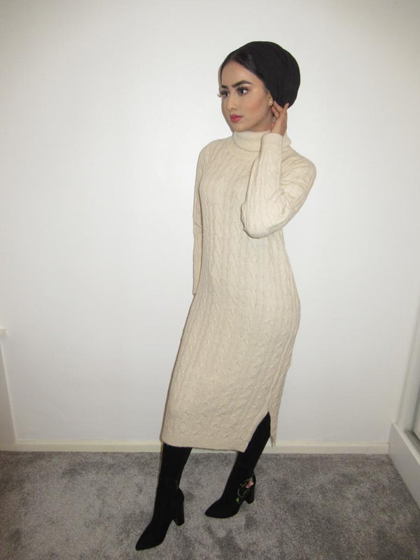 MS x SI Roll Neck Ribbed Maxi Jumper Dress - Cream