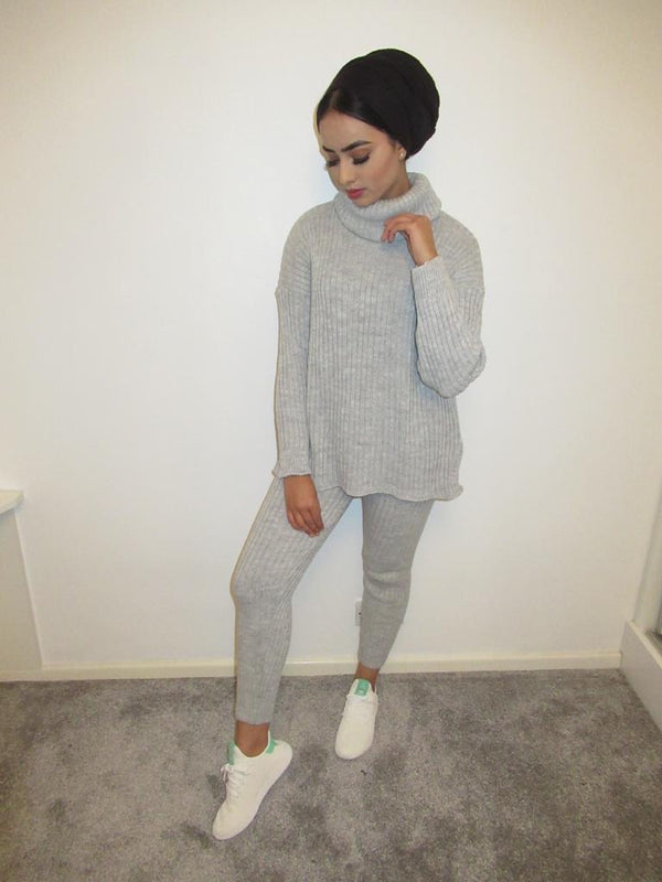 MS x SI Cosy Roll Neck Ribbed Two Piece Loungeset - Grey