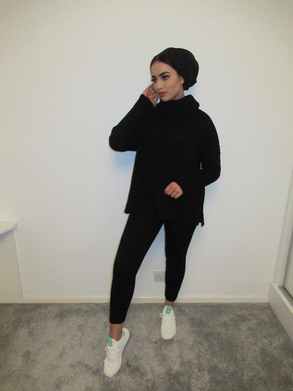 MS x SI Cosy Roll Neck Ribbed Two Piece Loungeset - Black