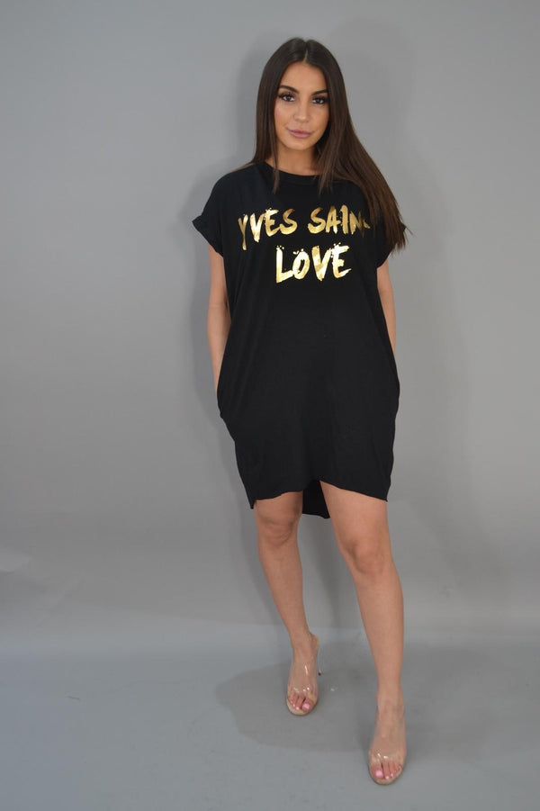 YSL Inspired T - Shirt Dress - Black