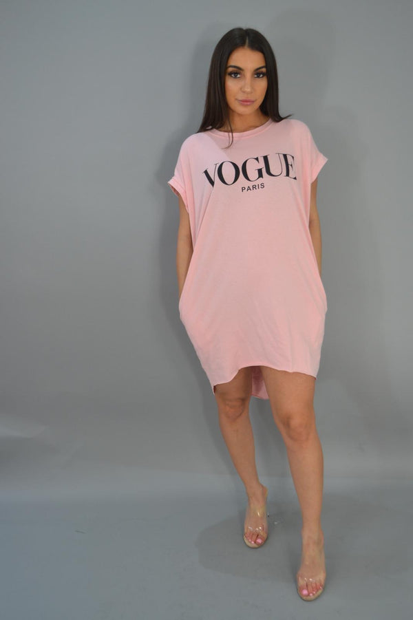 Vogue T - Shirt Dress - Pink