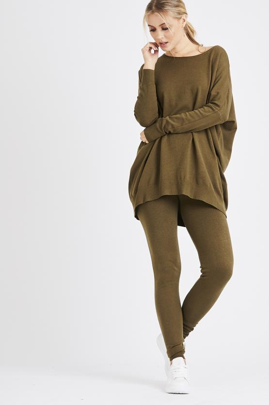 Light Knit Soft Touch Loungeset - Khaki