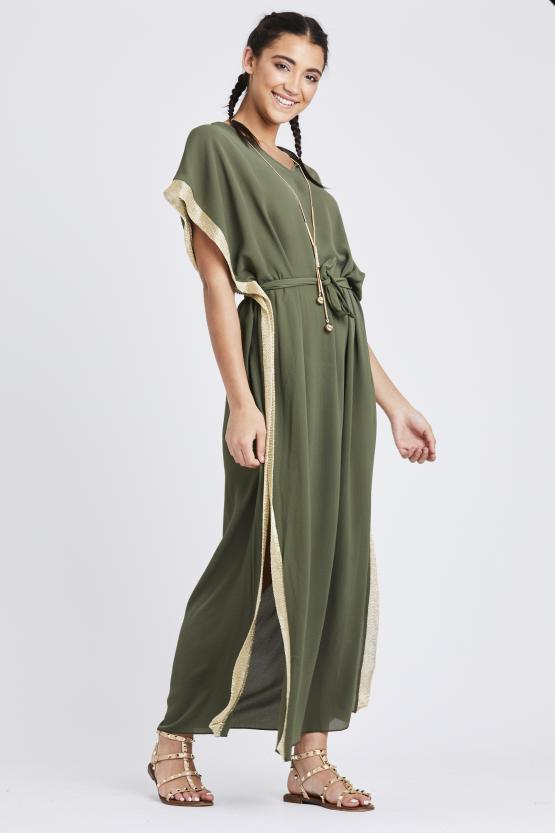 Metallic side stripe Maxi Dress - Khaki