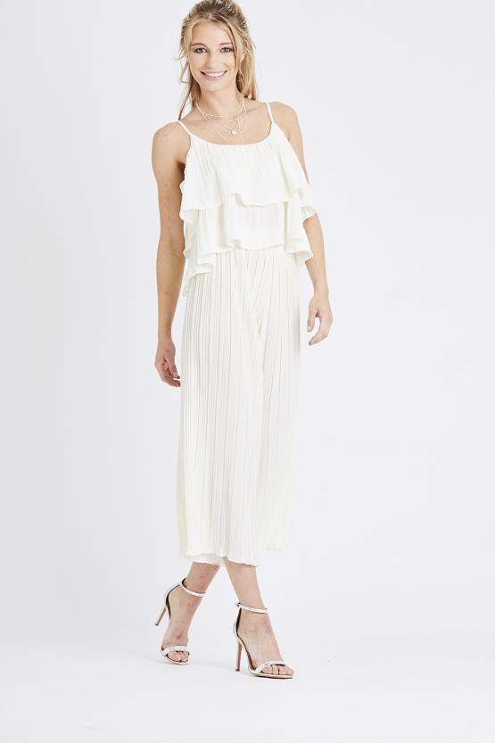 Pleated Two Piece Set - Cream