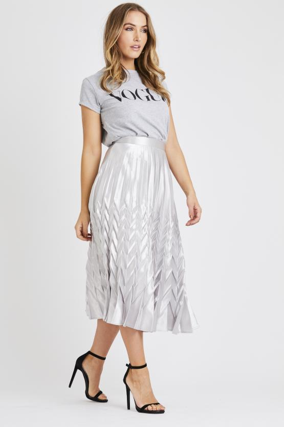 Georgia Silver Pleated Skirt