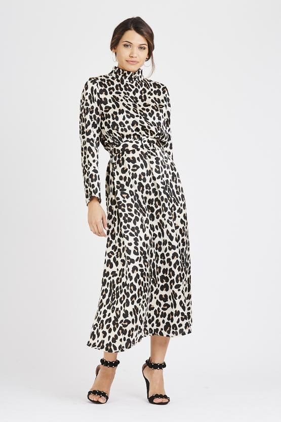 Ruffle Neck Leopard Print Dress