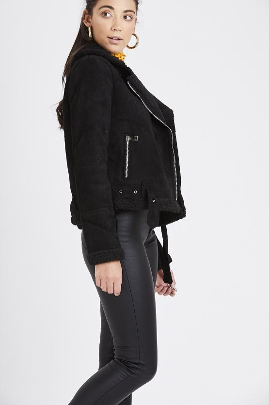 Suede Fur Trim Aviator Jacket - Black