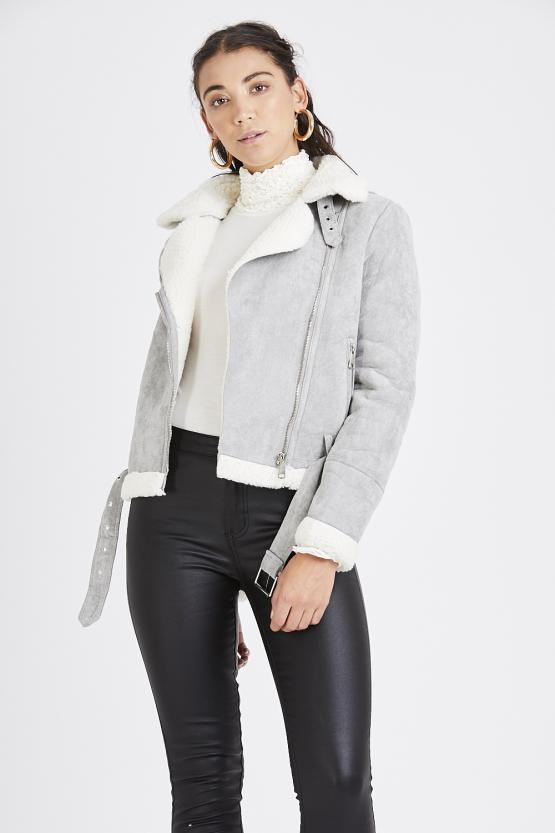 Suede Fur Trim Aviator Jacket - Grey