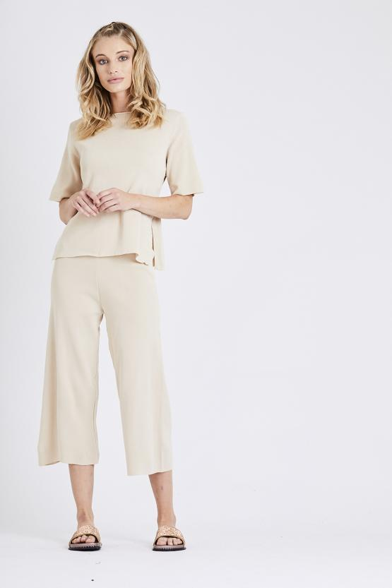 Tie up Top with Cropped Trousers Co-ord Set - Beige