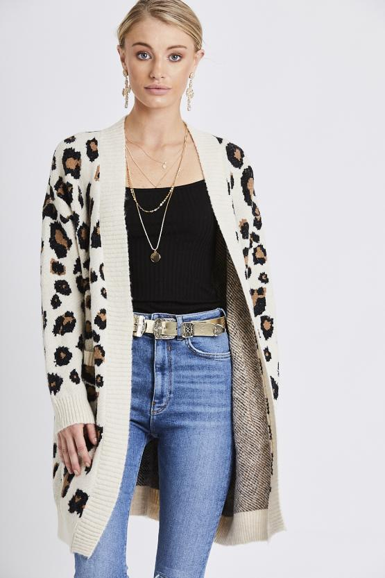 Leapord Print Two Pocket Cardigan - Cream