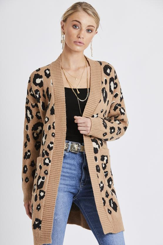 Leapord Print Two Pocket Cardigan - Tan