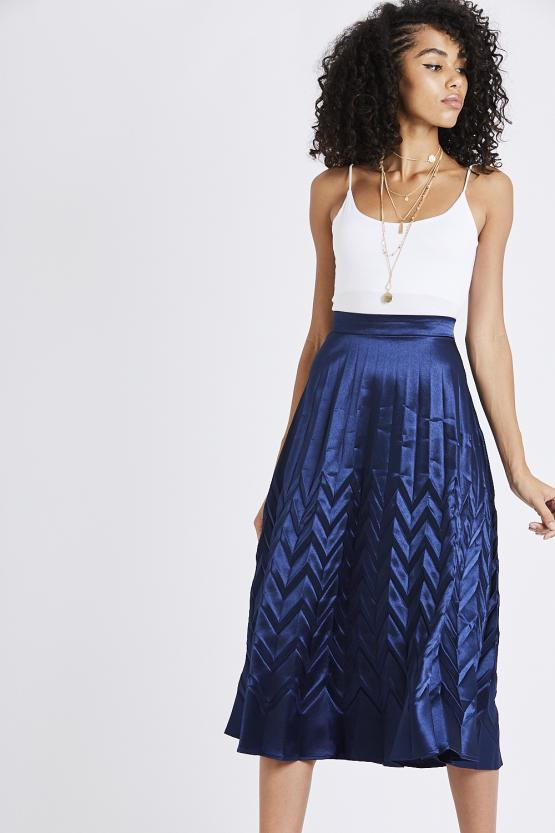 Georgia Navy Pleated Skirt