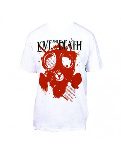 LOVE AND DEATH GAS MASK T-SHIRT