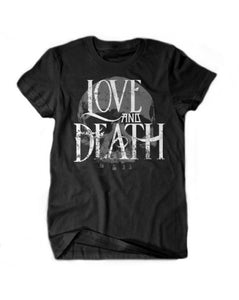 LOVE AND DEATH GREY SKULL T-SHIRT