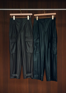 Fake Leather Cargo Pants
