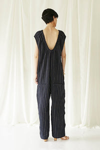 Side dot Linen Jumpsuits