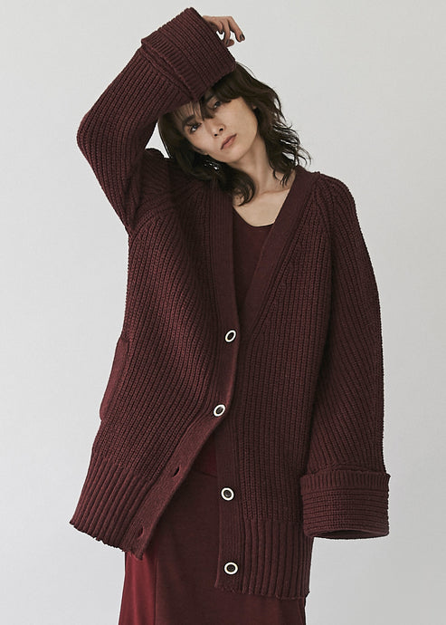 Wide sleeve Rib Cardigan