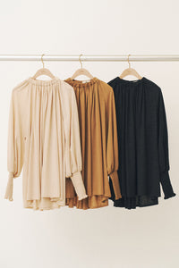 Gathered Neck Long Tee