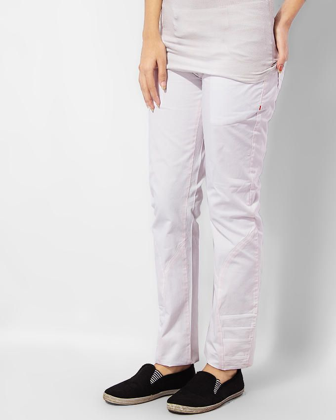 Ladies Trouser Modern Fit White - Bien Habille Pakistan