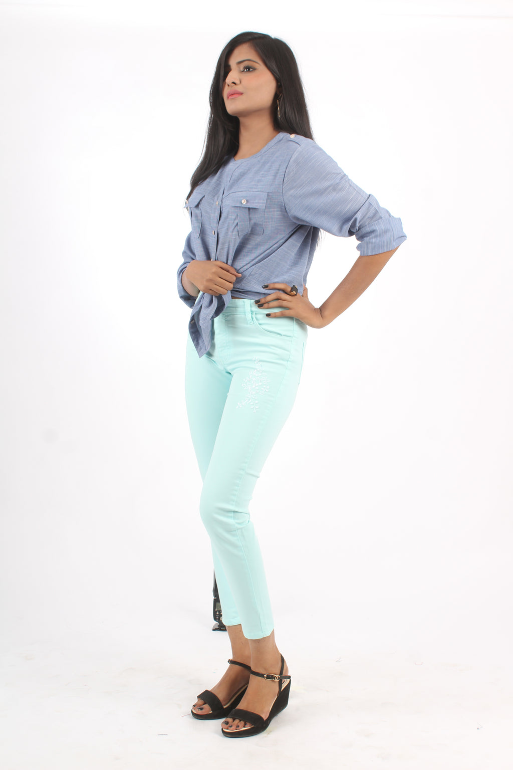 Ladies Jeans Skinny Fit Pastel Blue - Bien Habille Pakistan